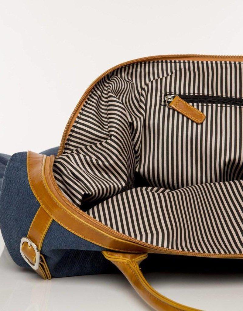 The Weekender Bag - Navy & Tan