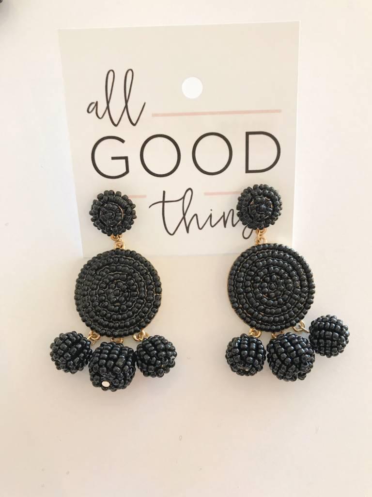 Black Beaded Circle Drop Earrings