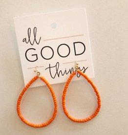 Orange Beaded Hoop Earring