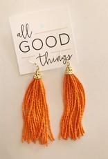 Orange Beaded Tassel Earring
