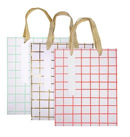 Grid Pattern Gift Bag - Set of 3