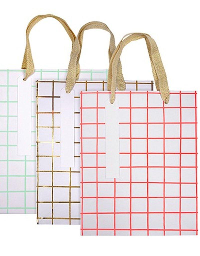 Grid Pattern Gift Bag - Set of 3