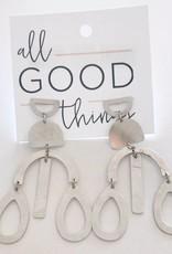 Silver Geometric Teardrop Earrings