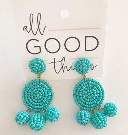 Turqoise Beaded Circle Drop Earrings