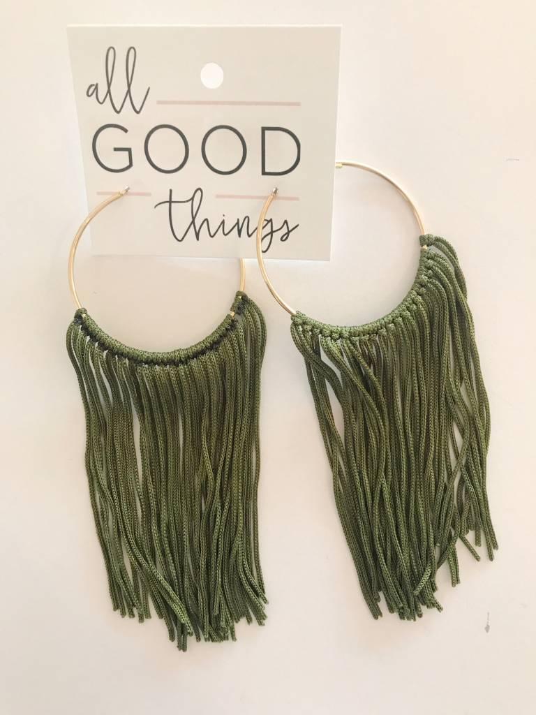 Olive Tassel Hoop Earrings