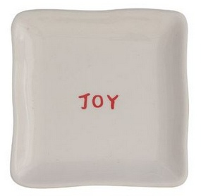 Joy Holiday Square Ceramic Plate