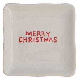 Merry Christmas Square Ceramic Plate
