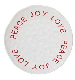 Peace Joy Love Round Stoneware Plate