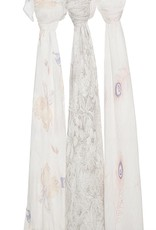 Featherlight Silky Soft Swaddle - Grey Floral