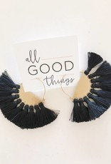 Black Fan Flare Hoop Earrings
