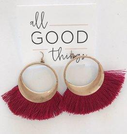 Maroon Hoop Fringe Earrings