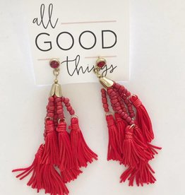 Red Pinata Tassel Earring