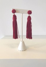 Classic Burgundy Tassel Earring