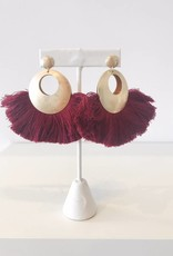 Maroon Fan Dangle Earring