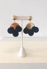 Black Pom Pom Earrings