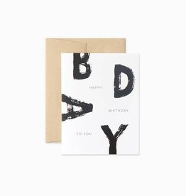 Evermore Paper Co. Modern Black and White Birthday Card