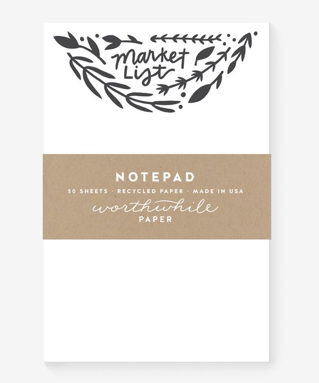 Worthwhile Paper Herbs + Florals Market List Notepad