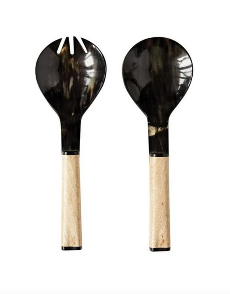 Mango Wood & Horn Salad Server, Set of 2