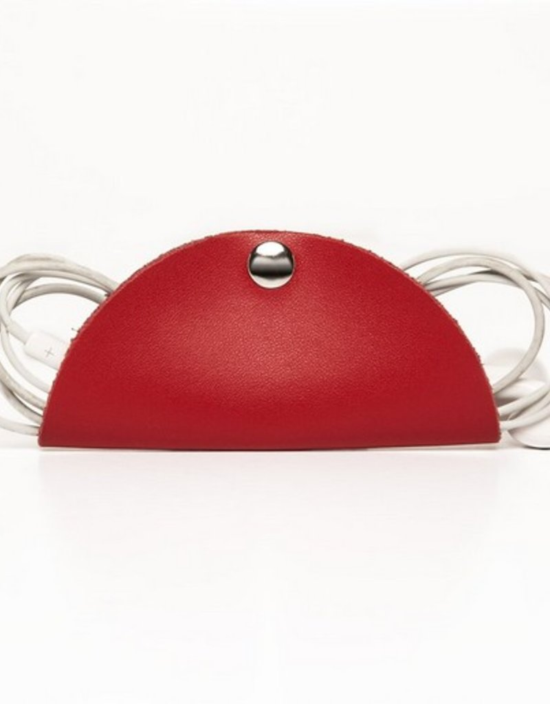 Leather Cord Snap - Red