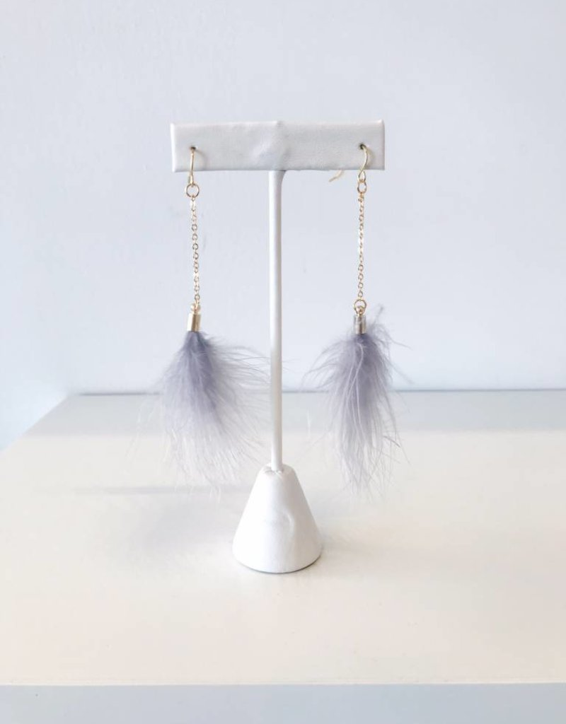 Feather Earring - Grey