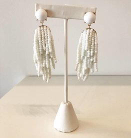 White Beaded Tassel Earring