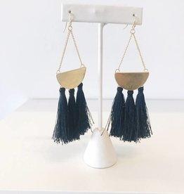 Triple Tassel Earring - Black