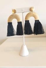 Black Double Tassel Earring