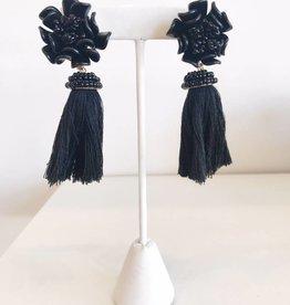 Rose Tassel Earring - Black
