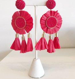 Rafia Triple Tassel Earrings - Red
