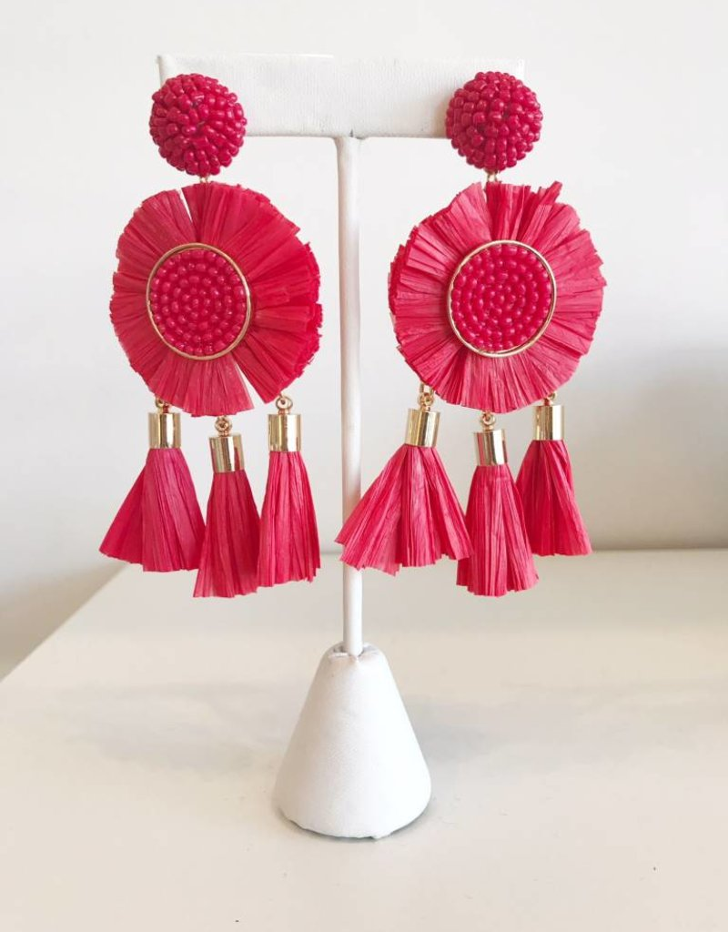 Rafia Triple Tassel Earrings - Red
