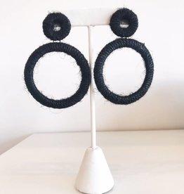 Black Yarn Geometric Earring