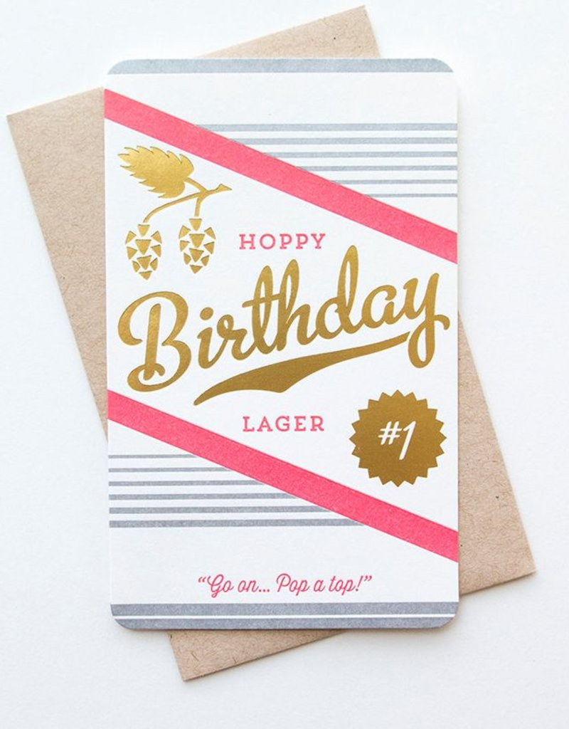 Anemone Letterpress Hoppy Birthday Letterpress and Foil Card