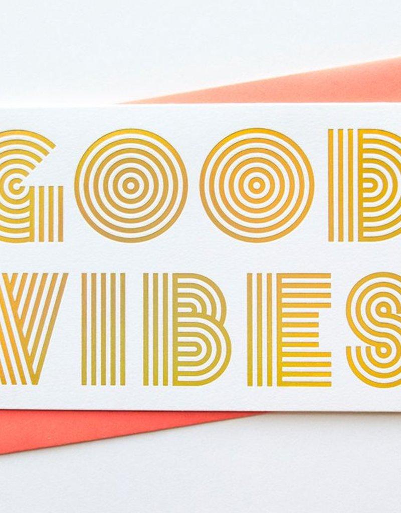 Anemone Letterpress Good Vibes Gold Holographic Foil Card