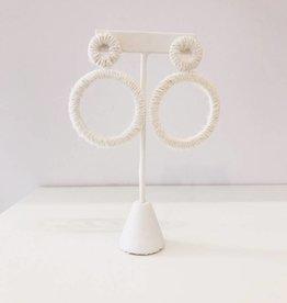 White Yarn Geometric Earring