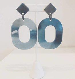 Navy Acrylic Circle Drop Earring