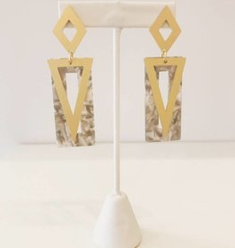 Acrylic Triangle Drop Earring - Grey
