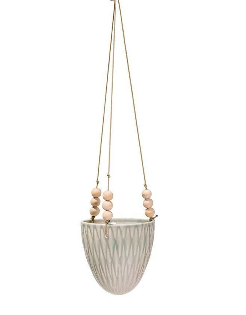 Cream Stoneware Hanging Flower Pot