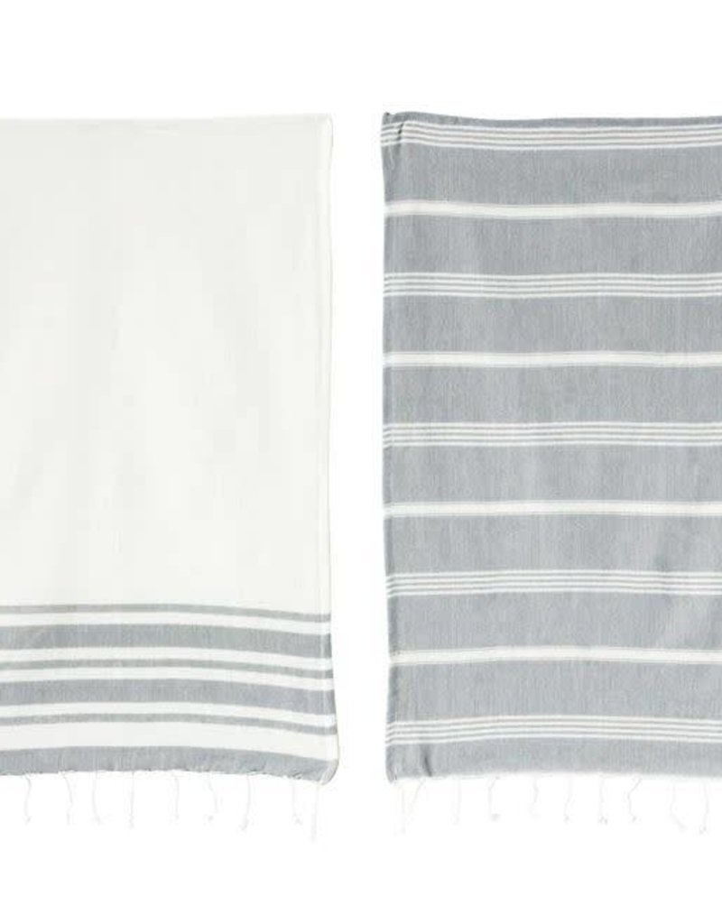 Cotton Woven Kitchen Towels - Grey