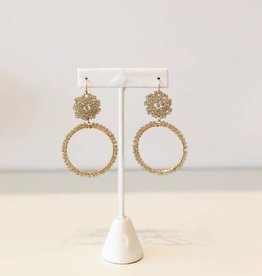 Beaded Drop Hoop Earring - Olive