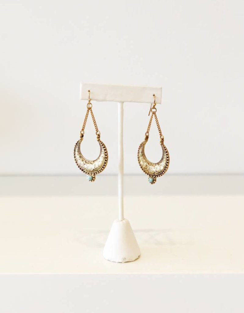 Gold + Turquoise Tribal Drop Earring