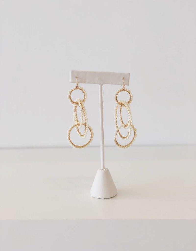 Beaded Dangle Hoop Earrings - Cream