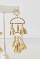 Gold + Cream Rafia Half Moon Tassel Earring