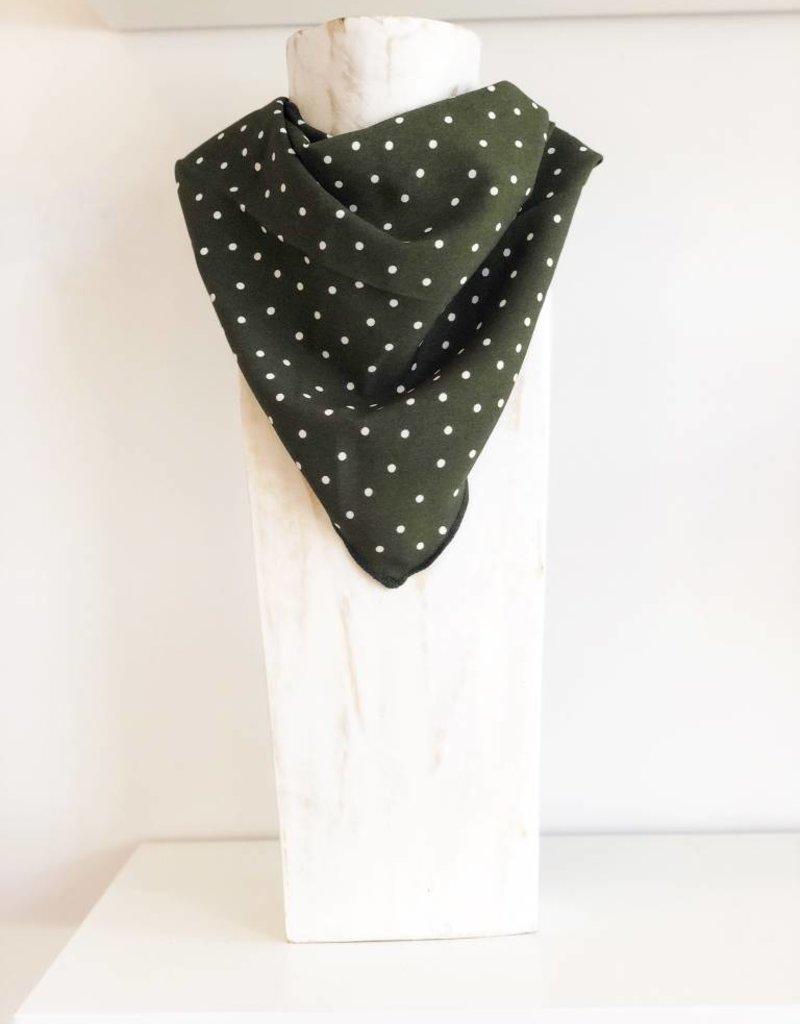 Polka Dot Scarf - Olive