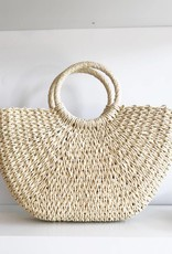 Woven Straw Clutch with Handles