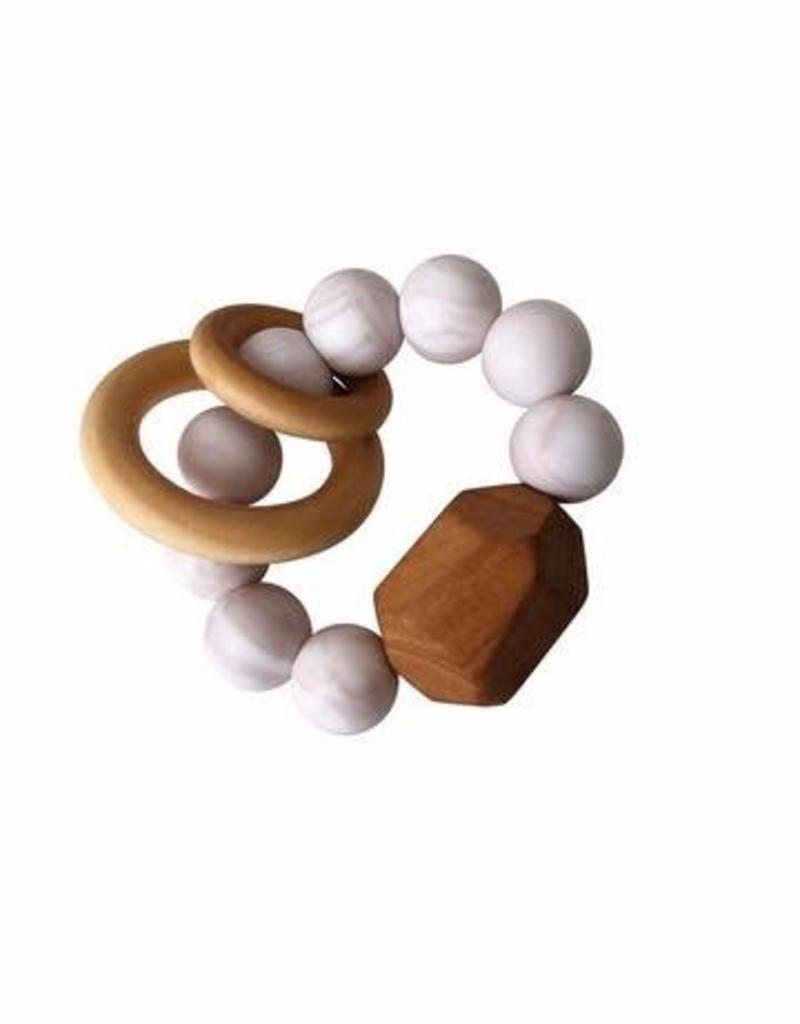 Hayes Silicone + Wood Teether Toy - Rose Quartz