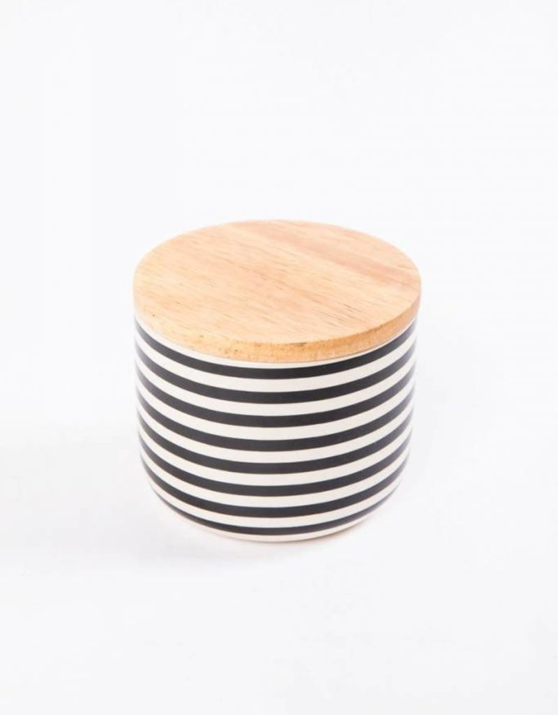 Ceramic Jar with Wooden Top - Striped