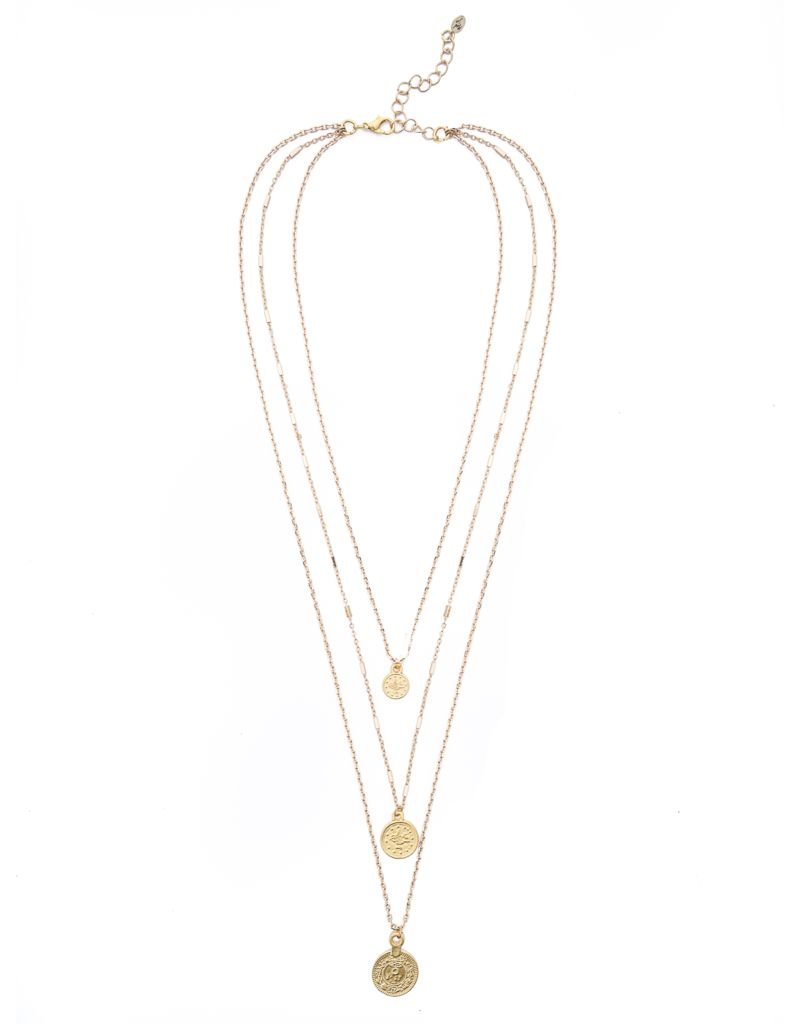 Gold Coin Layered Pendant Necklace
