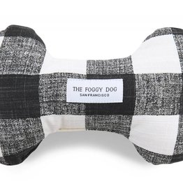 Black And White Gingham Dog Bone Squeaky Toy