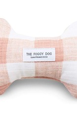 Blush Pink Gingham Dog Bone Squeaky Toy: Blush Pink