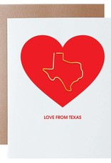 Love From Texas Paper Clip Letterpress Card